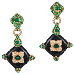 Andreoli Black Onyx Emerald Tsavorite Garnet Diamond 18 Karat Gold Earrings