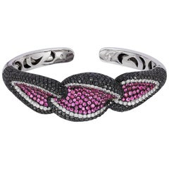 Andreoli Black White Diamond Pink Sapphire Cuff Bracelet 18KT White Blackened