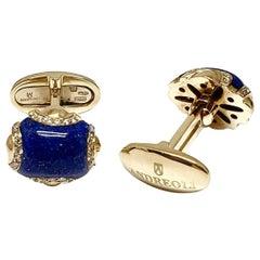 Andreoli Blue Lapis Lazuli Diamond 18 Karat Yellow Gold Men's Cufflinks