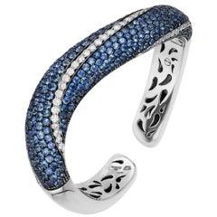 Andreoli Blue Sapphire Diamond Cuff Bracelet 18 Karat White Gold