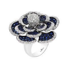 Andreoli Blue Sapphire Diamond Moving Petals Flower Ring 18 Karat White Gold