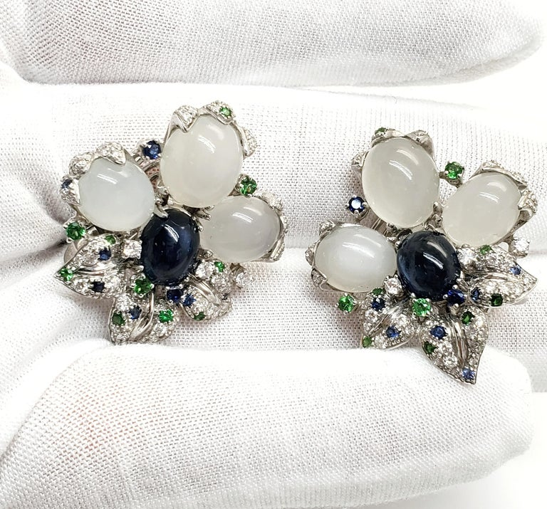 Andreoli Blue Sapphire Moonstone Cabochon Diamond Tsavorite Flower Earrings In New Condition For Sale In New York, NY