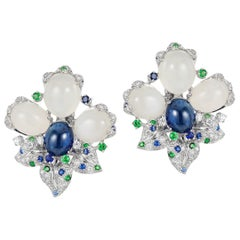 Andreoli Blue Sapphire Moonstone Cabochon Diamond Tsavorite Flower Earrings