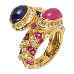 Andreoli Blue Sapphire Ruby Cabochon Bypass Cocktail Ring 18 Karat Yellow Gold