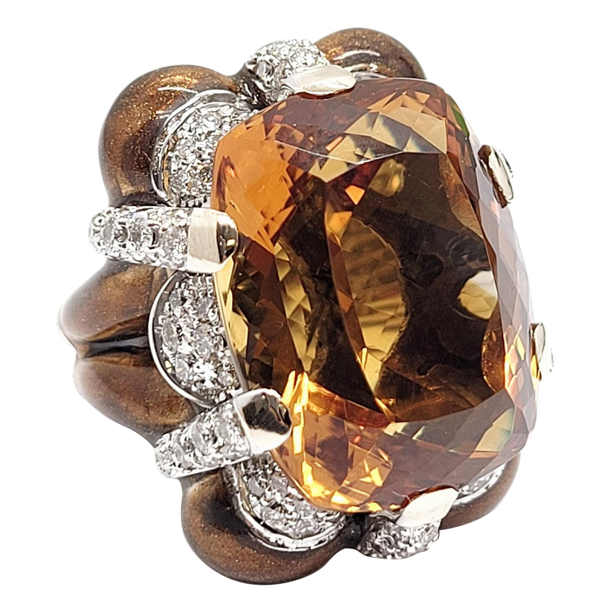 Andreoli Brown Enamel, Citrine and Diamond Cocktail Ring