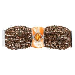 Andreoli Brown Garnet Orange Mother of Pearl Citrine Diamond Bracelet 18K Gold