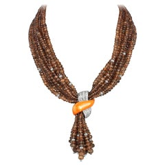 Andreoli Brown Garnet Orange Mother of Pearl Diamond Necklace 18 Karat Gold