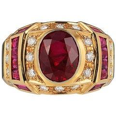 Andreoli Burma Burmese Ruby Diamond Cocktail Ring 18 Karat Gold CDC Certified