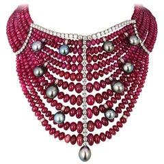Andreoli Burma Ruby Cabochon Bead Tahitian Pearl Bib Necklace Diamond 18 Karat