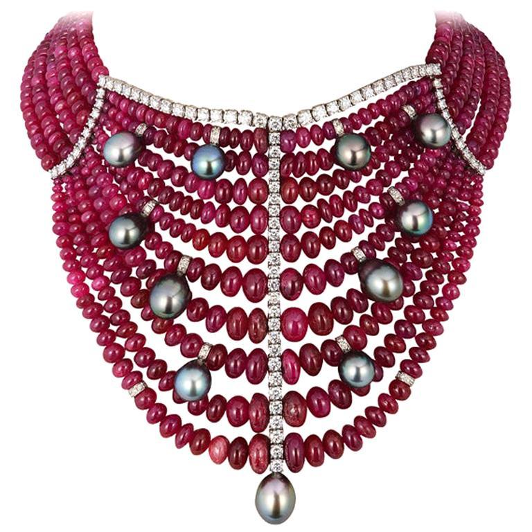 Andreoli Burma Ruby Cabochon Bead Tahitian Pearl Bib Necklace Diamond 18 Karat For Sale
