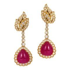 Andreoli Burma Ruby Cabochon CDC Certified Diamond Earrings 18 Karat Gold