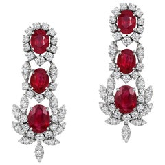 Andreoli Burma Ruby CDC Certified Diamond Statement Earrings 18 Karat White Gold