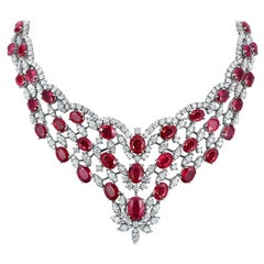 Andreoli Burma Ruby CDC Certified Diamond Statement Necklace 18 Karat White Gold