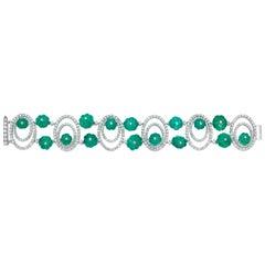 Andreoli Carved Colombian Emerald Diamond Sphere Bracelet 18 Karat White Gold