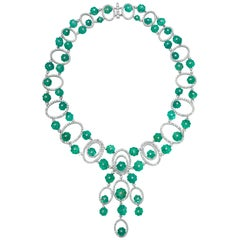 Andreoli Carved Colombian Emerald Melon Diamond Necklace Sphere Drop 18Kt Gold