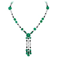 Andreoli Carved Emerald Onyx Diamond Necklace 18 Karat White Gold