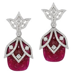 Andreoli Carved Ruby Diamond Statement Drop Earrings 18 Karat White Gold