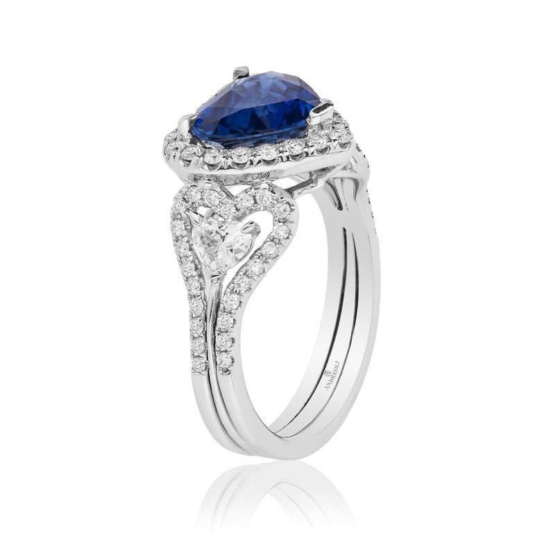 Contemporary Andreoli CDC Certified 2.60 Carat Ceylon Blue Sapphire Diamond Heart Shape Ring For Sale
