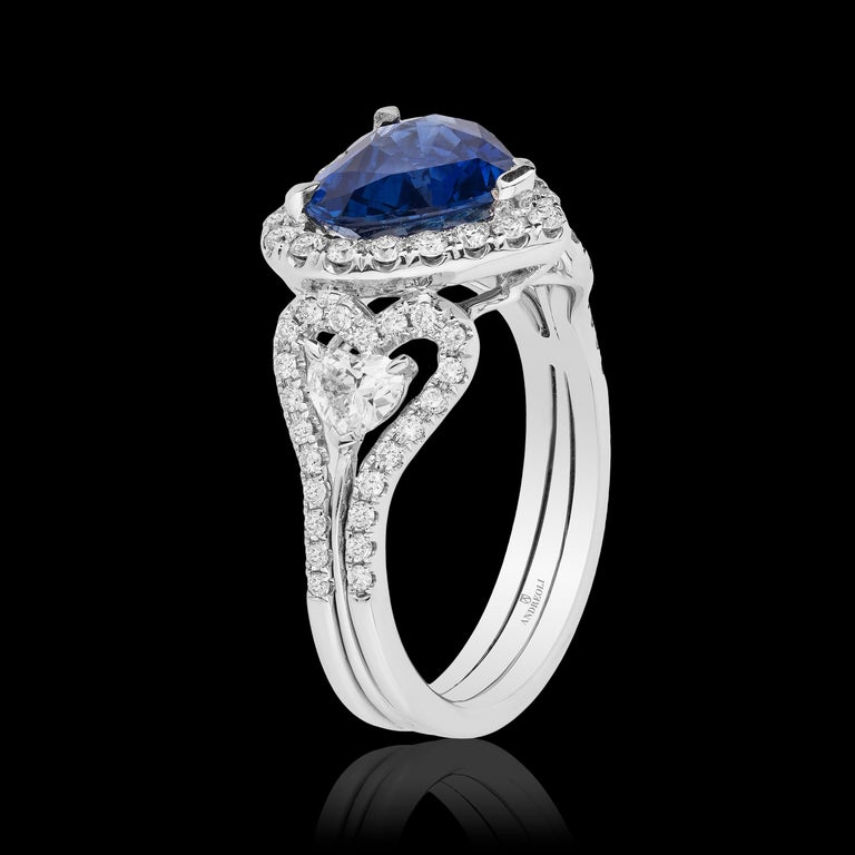 Andreoli CDC Certified 2.60 Carat Ceylon Blue Sapphire Diamond Heart Shape Ring In New Condition For Sale In New York, NY