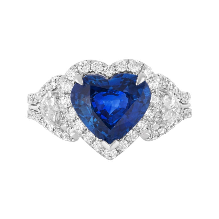 Andreoli CDC Certified 2.60 Carat Ceylon Blue Sapphire Diamond Heart Shape Ring For Sale