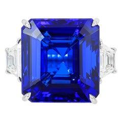 Andreoli CDC Certified 42.70 Carat Vivid Blue Tanzanite Diamond Platinum Ring