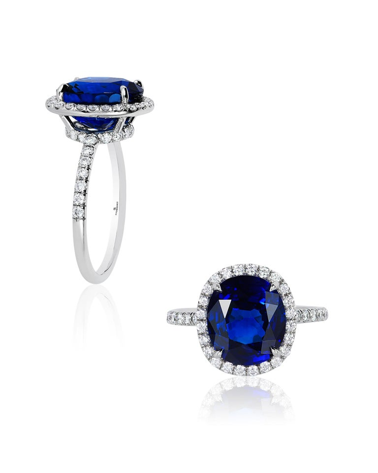 Contemporary Andreoli CDC Certified 6.31 Carat Ceylon Blue Sapphire Diamond Platinum Ring For Sale