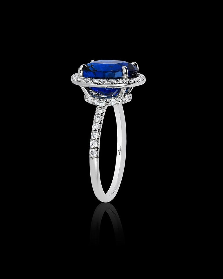 Cushion Cut Andreoli CDC Certified 6.31 Carat Ceylon Blue Sapphire Diamond Platinum Ring For Sale