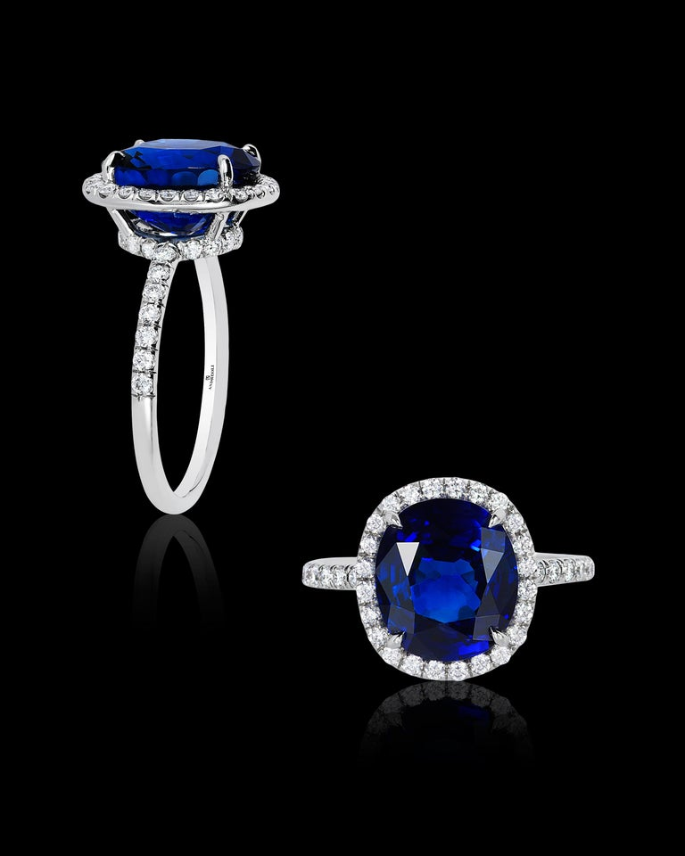 Andreoli CDC Certified 6.31 Carat Ceylon Blue Sapphire Diamond Platinum Ring In New Condition For Sale In New York, NY
