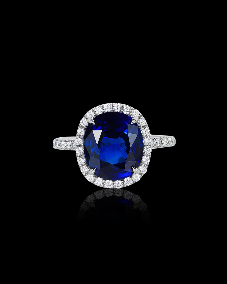Women's Andreoli CDC Certified 6.31 Carat Ceylon Blue Sapphire Diamond Platinum Ring For Sale