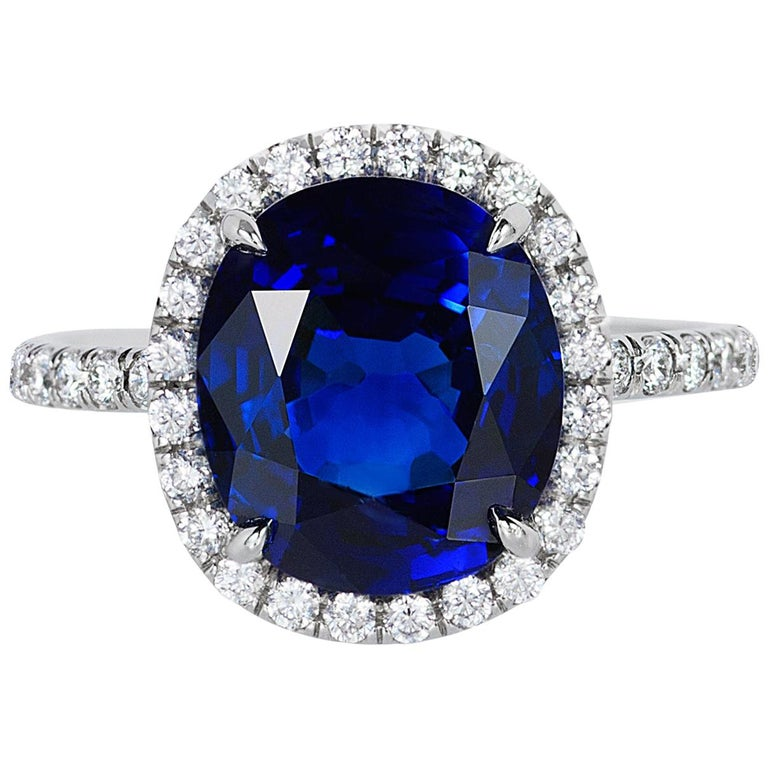 Andreoli CDC Certified 6.31 Carat Ceylon Blue Sapphire Diamond Platinum Ring For Sale