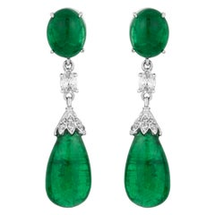 Andreoli CDC Certified Emerald Cabochon Diamond Drop Earrings 18 Karat Gold