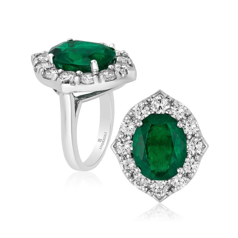 Contemporary Andreoli CDC Certified No Oil 7.88 Carat Zambian Emerald Diamond Ring Platinum For Sale