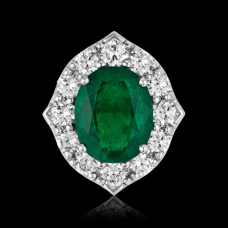 Oval Cut Andreoli CDC Certified No Oil 7.88 Carat Zambian Emerald Diamond Ring Platinum For Sale