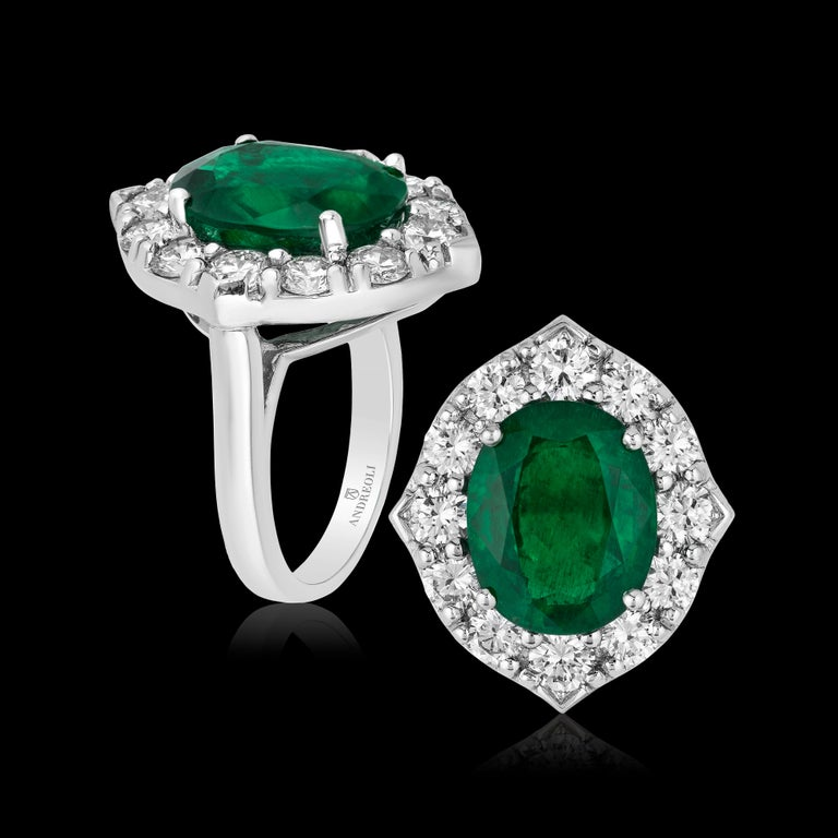 Andreoli CDC Certified No Oil 7.88 Carat Zambian Emerald Diamond Ring Platinum In New Condition For Sale In New York, NY