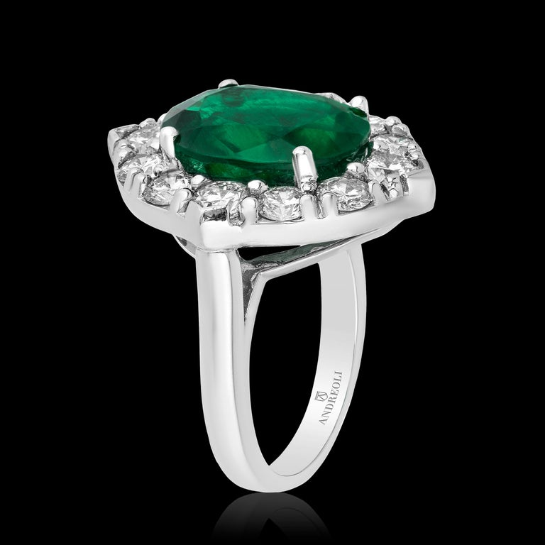 Women's Andreoli CDC Certified No Oil 7.88 Carat Zambian Emerald Diamond Ring Platinum For Sale