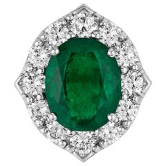 Andreoli CDC Certified No Oil 7.88 Carat Zambian Emerald Diamond Ring Platinum
