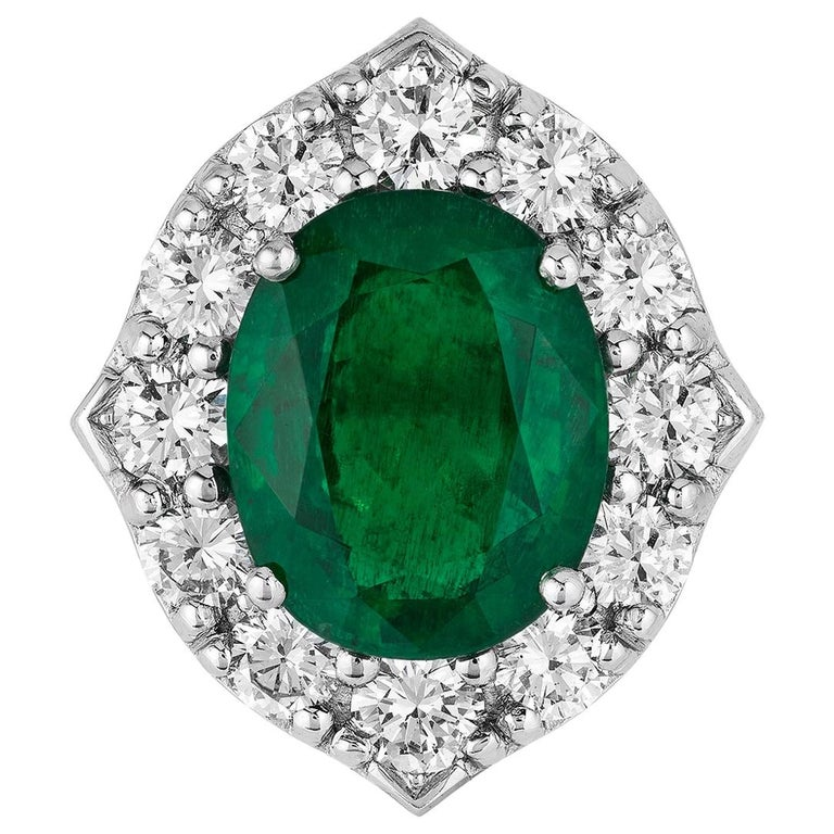 Andreoli CDC Certified No Oil 7.88 Carat Zambian Emerald Diamond Ring Platinum For Sale