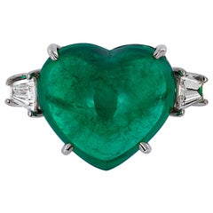 Andreoli Certified 15.40 Carat Colombian Heart Shape Cabochon Emerald Ring 18KT