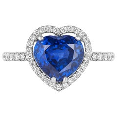 Andreoli Certified 3.78 Carat Ceylon Blue Sapphire Diamond Platinum Heart Ring