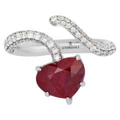 Andreoli Certified 4.02 Carat Burma Ruby Heart Shape Ring Diamond 18 Karat Gold