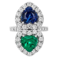 Andreoli Certified Emerald Colombian Sapphire Ceylon Heart Diamond Platinum Ring