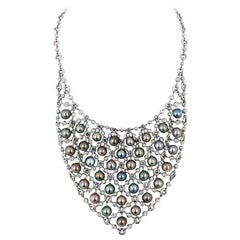 Andreoli Chainmail Bib Tahitian Pearl Diamond Necklace 18 Karat White Gold