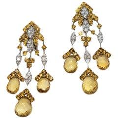 Andreoli Citrine and Diamond Chandelier Earrings