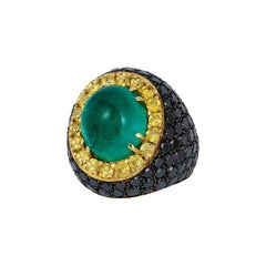 Andreoli Colombian Cabochon Emerald Black Diamond Yellow Sapphire Cocktail Ring