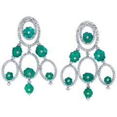 Andreoli Colombian Carved Emerald Diamond Chandelier Earrings 18 Karat Gold