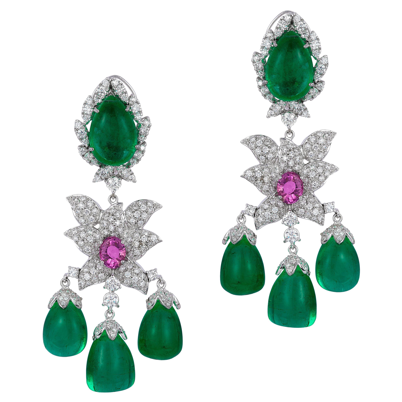 Andreoli Colombian Emerald Drop Pink Sapphire Diamond Chandelier Earrings 18K
