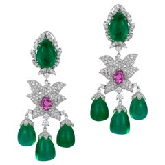 Andreoli Colombian Emerald Drop Pink Sapphire Diamond Chandelier Earrings 18K