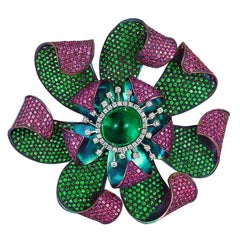 Andreoli Colombian Emerald Pink Sapphire Tsavorite Flower Brooch Titanium Pin