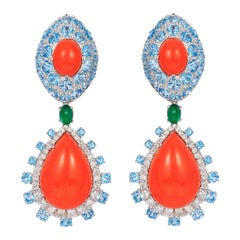 Andreoli Coral Blue Topaz Emerald Diamond Drop Earrings 18 Karat White Gold