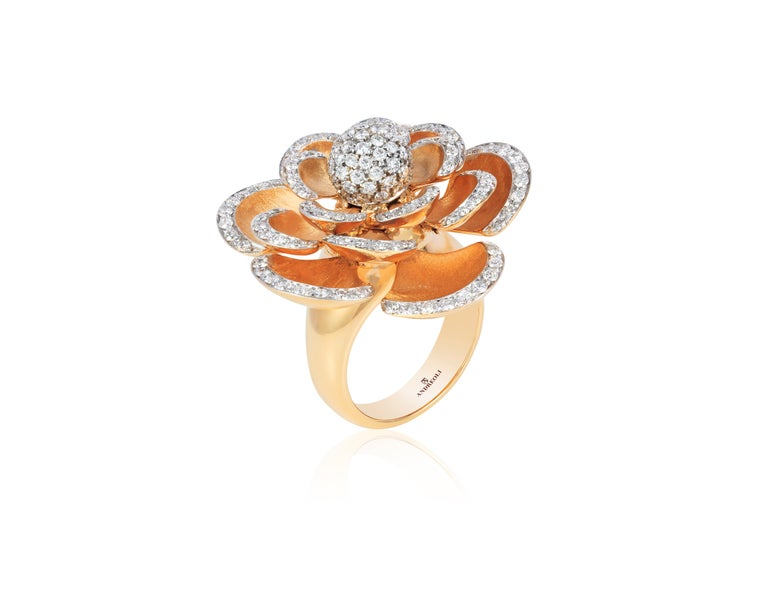 Contemporary Andreoli Diamond 18 Karat Rose Gold Flower Cocktail Ring with Movable Petals For Sale